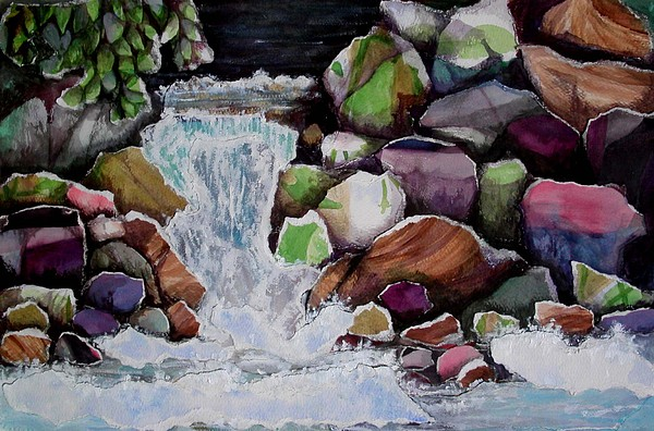 Landscape Mixed Media - Stream At Whistler by Joanne Osband