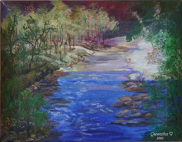 River Painting - Stream At Yosemite by Quwatha Valentine