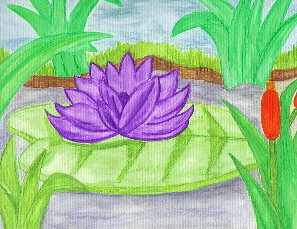 Lily Pad Painting - Stream by Jill Christensen