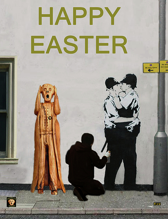 Happy Easter Mixed Media - Street Art Scream Police by Eric Kempson
