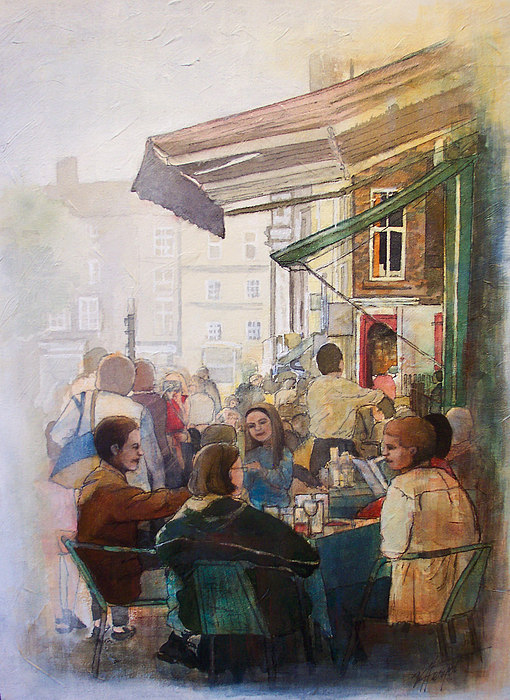 Cafe Painting - Street Cafe by Victoria Heryet