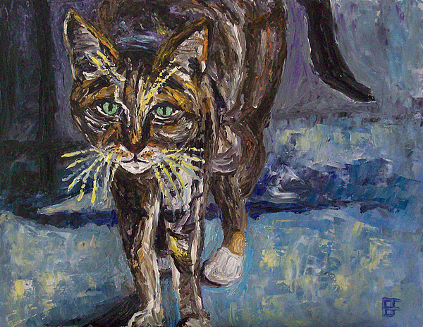 Cat Painting - Street Cat by Allen Forrest