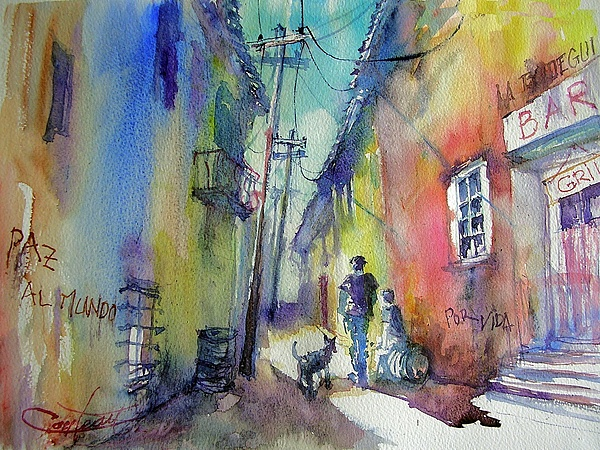Watercolor Painting - Street Of La Havanna  by Christian Couteau