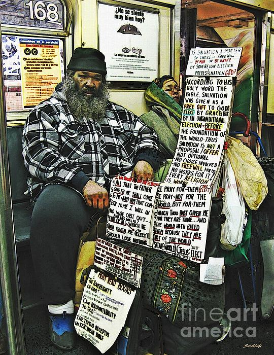 Passenger Photograph - Street Preacher On The A Train by Sarah Loft