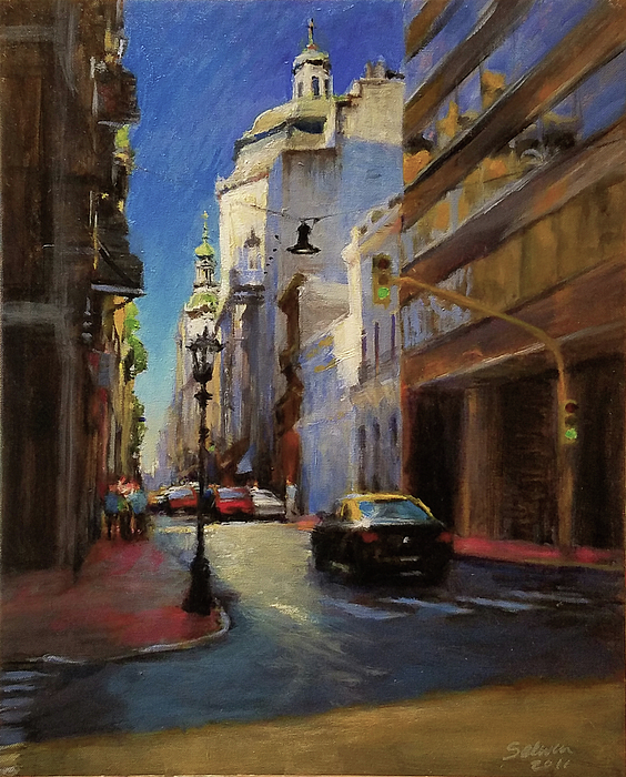 Landscape Painting - Street Scene In Buenos Aires by Peter Salwen