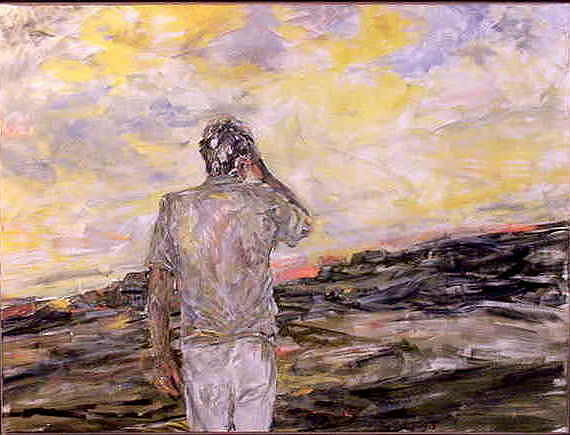 Figurative Painting - Strife Of An Honest Man by Caroline Krieger Comings