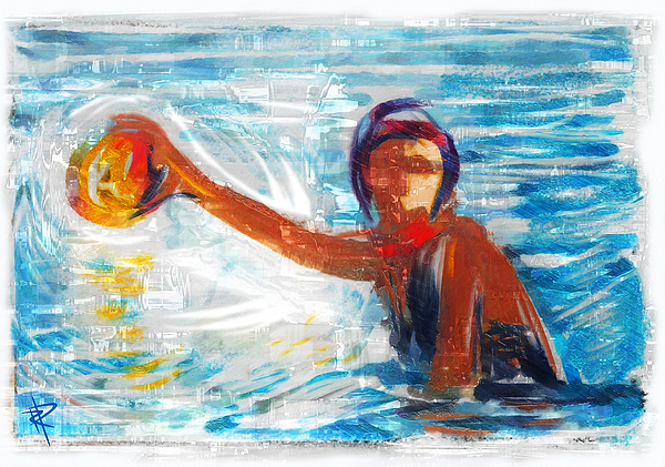 Water Polo Mixed Media - Striking Distance by Russell Pierce