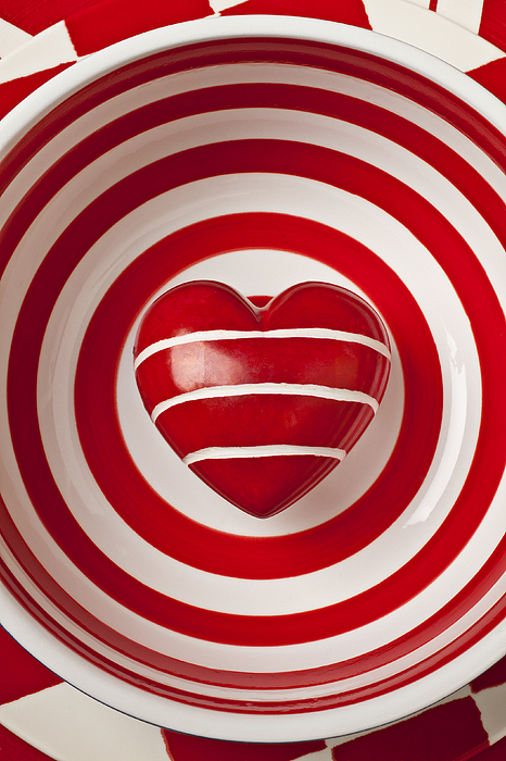 Hearts Photograph - Striped Heart In Bowl by Garry Gay