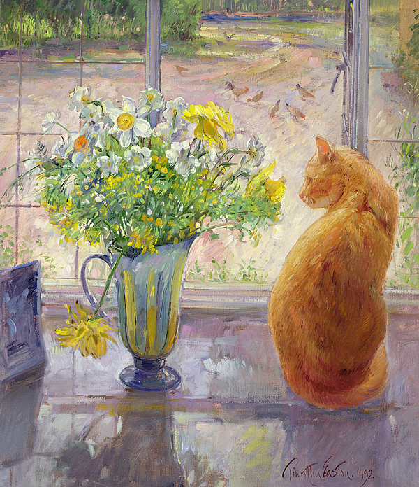 Ginger; Cat; Vase; Narcissi; Chicken; Pheasants Eye; Flower; Flowers ; Window; Open Window; Pheasant Painting - Striped Jug With Spring Flowers by Timothy Easton