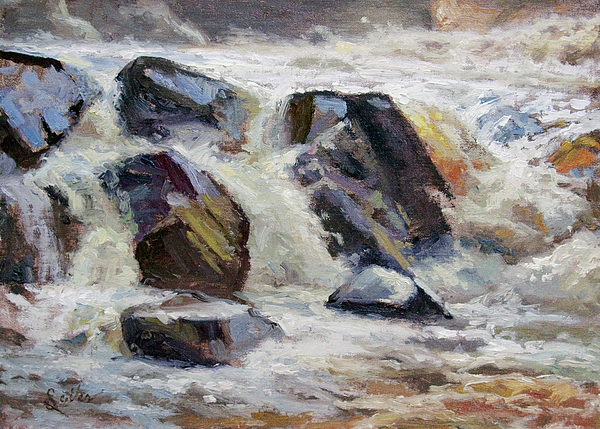 Waterfalls Painting - Strong Falls Plein Air Demo by Larry Seiler