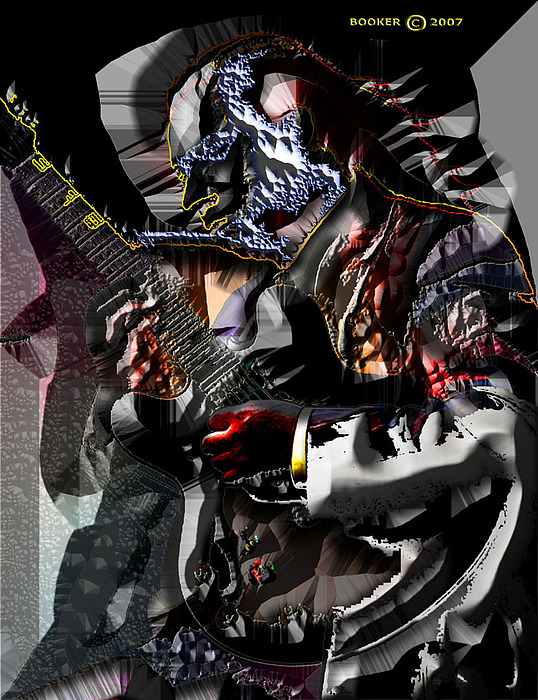 Guitar Mixed Media - Strummin De Blues by Booker Williams