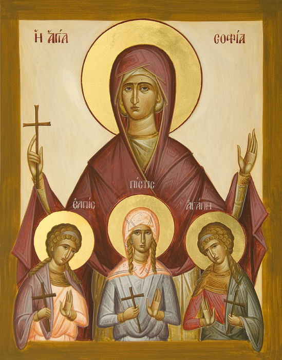 Icon Painting - Sts Sophia Faith Hope And Love by Julia Bridget Hayes