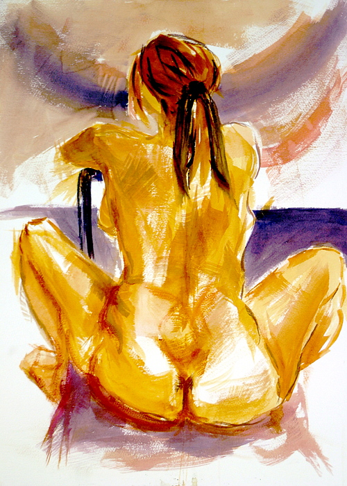 Female Painting - Studio Study In Watercolor by Dan Earle