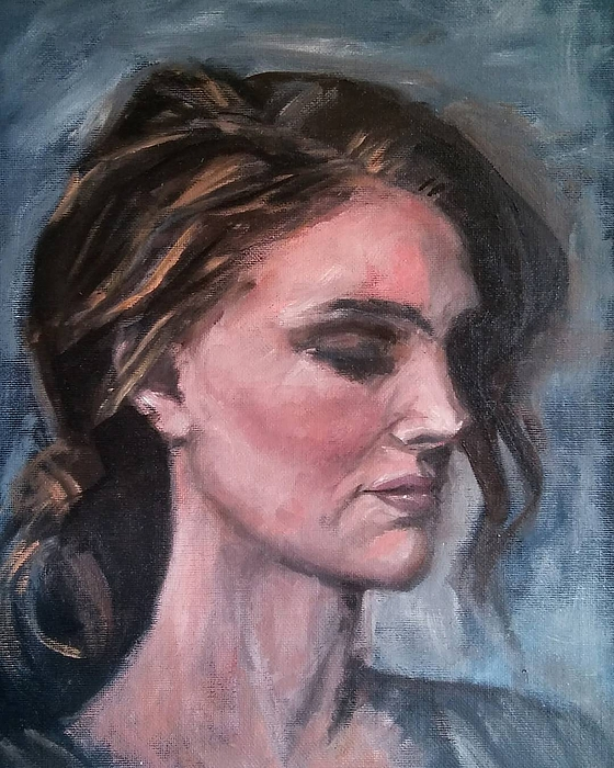 Woman Painting - Study Of A Woman In Moonlight #1 by Brian Kardell