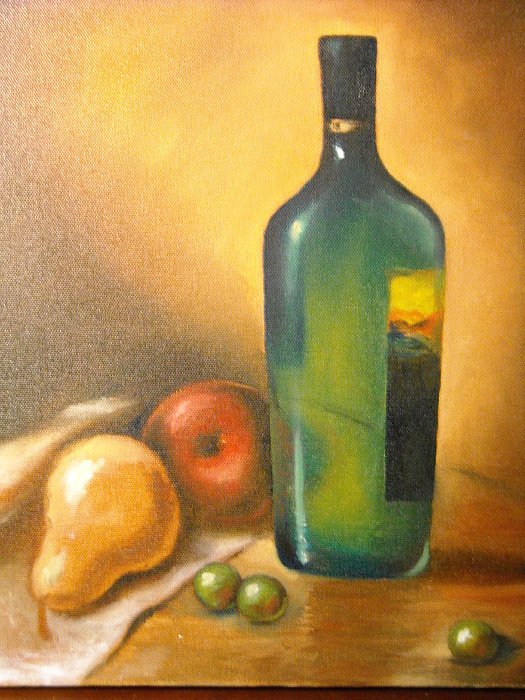 Study With Green Bottle Painting by R Zulienn