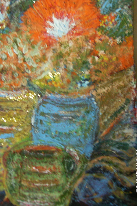 Still Life Painting - Stunning Still Life With Orange And Blue by Anne-Elizabeth Whiteway
