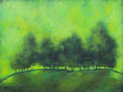 Green Painting - Sublime by Ellen Lewis