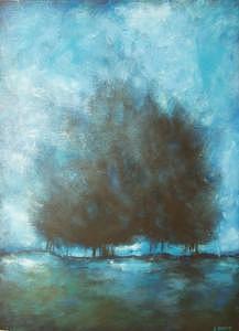 Blue Painting - Submerge by Ellen Lewis