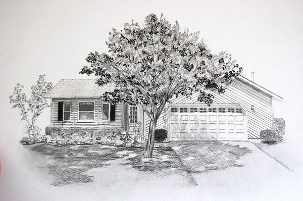 Home Drawing - Suburban Home by Sue Olson