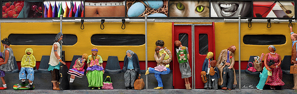 Subway Mixed Media - Subway - Lonely Travellers by Anne Klar