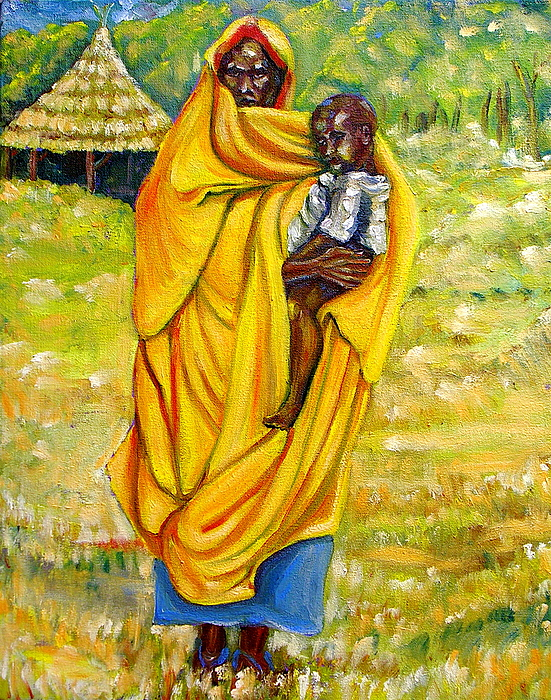 Portraits Painting - Sudanese Mother And Child by George Chacon