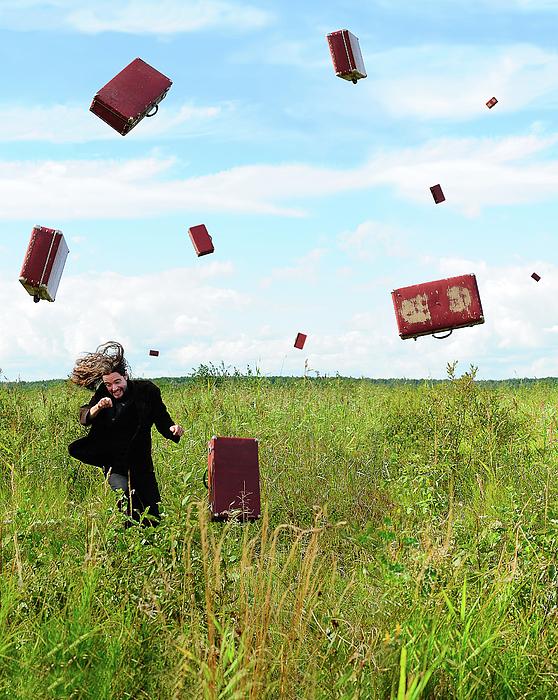 Man Photograph - Suitcase Rain by Roman Rodionov