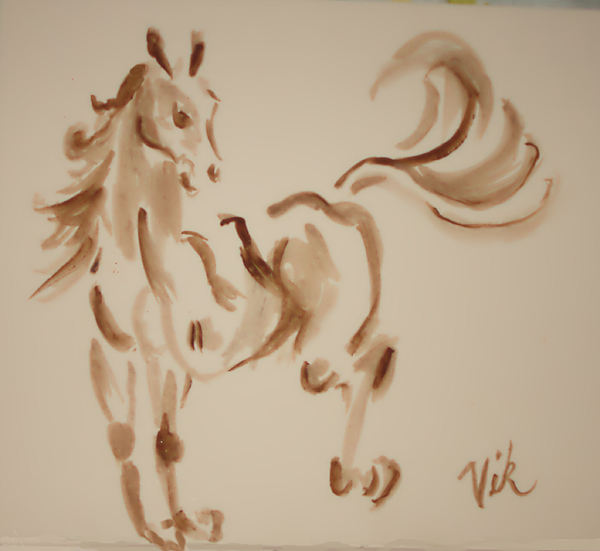 Horse Painting - Sumi Horse by Lyn Vic