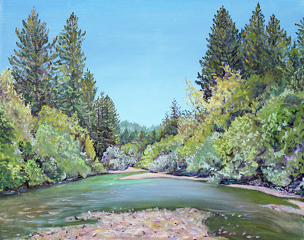 River Painting Painting - Summer Day On The Gualala River by Asha Carolyn Young