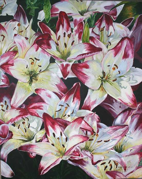 Pink Flower Painting - Summer Dazzlers  by Helen Shideler