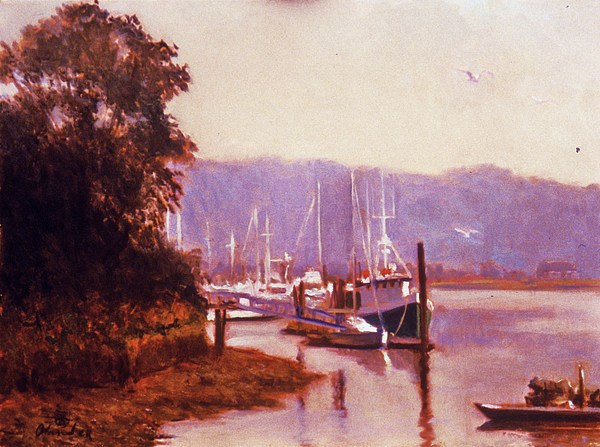 Summer Heat  Long Island Port Painting by David Olander