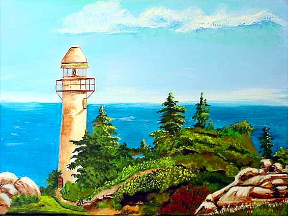 Lighthouse Painting - Summer Lighthouse by Dia Spriggs