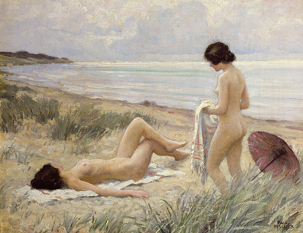 Lesbianism Painting - Summer On The Beach by Paul Fischer