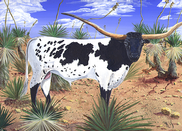 Long Horn Painting - Summer On The High Mesa by Dan RiiS Grife