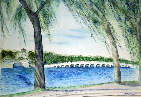 Summer Palace 17-hole Bridge In Bejing China Painting by Jennifer Shinomoto