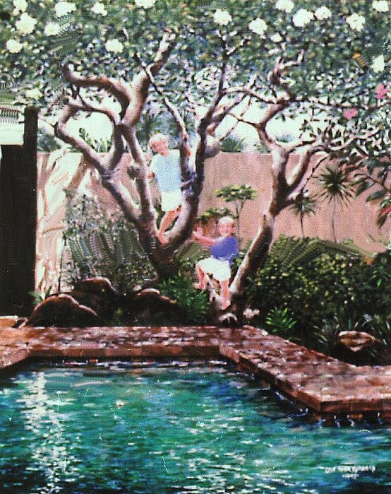 Portrait Painting - Summer Pool-oahu by Leif Thor Kvammen