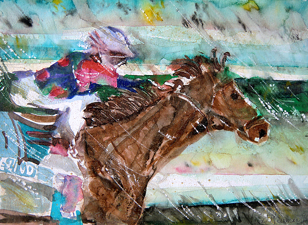 Horse Painting - Summer Squall Horse Racing by Mindy Newman