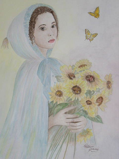 Girl Greeting Card - Summers Flower by Patti Lennox