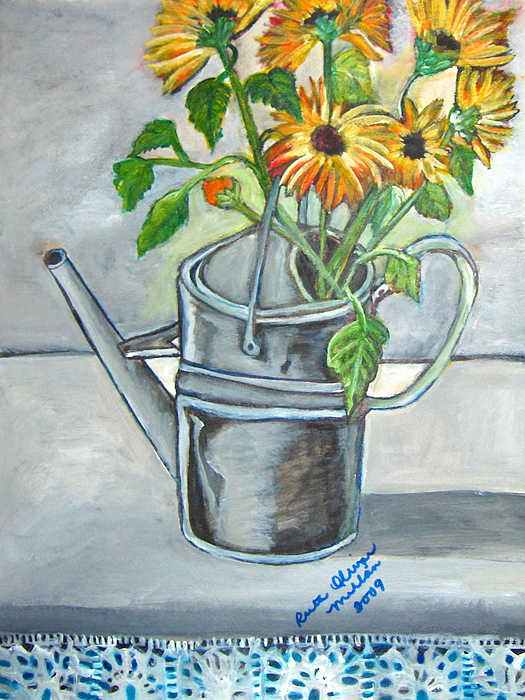 Flowers Painting - Sun Flowers In An Old  Can by Ruth Olivar Millan