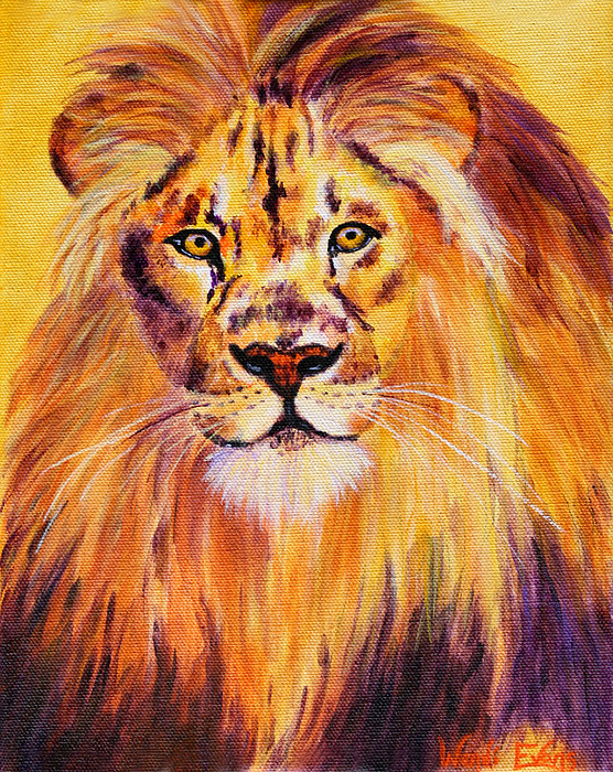 Lion Painting - Sun Kissed Boy by Wendi Matson
