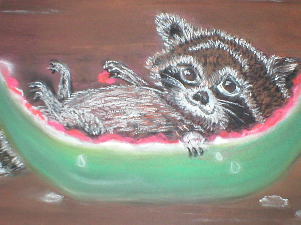 Racoon Painting - Sunday Afternoon Brunch by Terry Lash