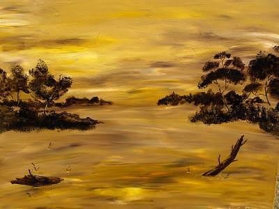 Sundown At The Swamp Painting by Gloria Sheffield