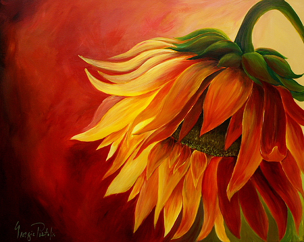 Sunflower painting by georgia pistolis for How to paint sunflowers in acrylic