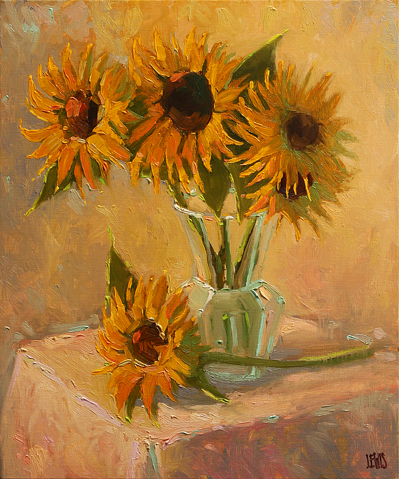 Sunflower Vase In A Sunny Room Painting By Robert Lewis