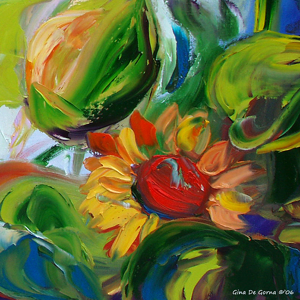 Flowers Painting - Sunflowers 8 by Gina De Gorna