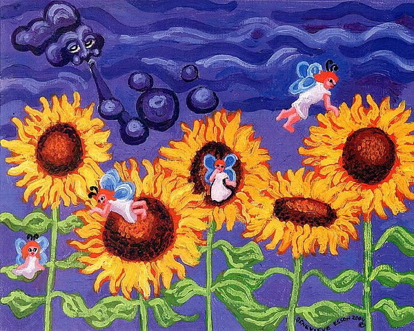 Sunflower Painting - Sunflowers And Faeries by Genevieve Esson