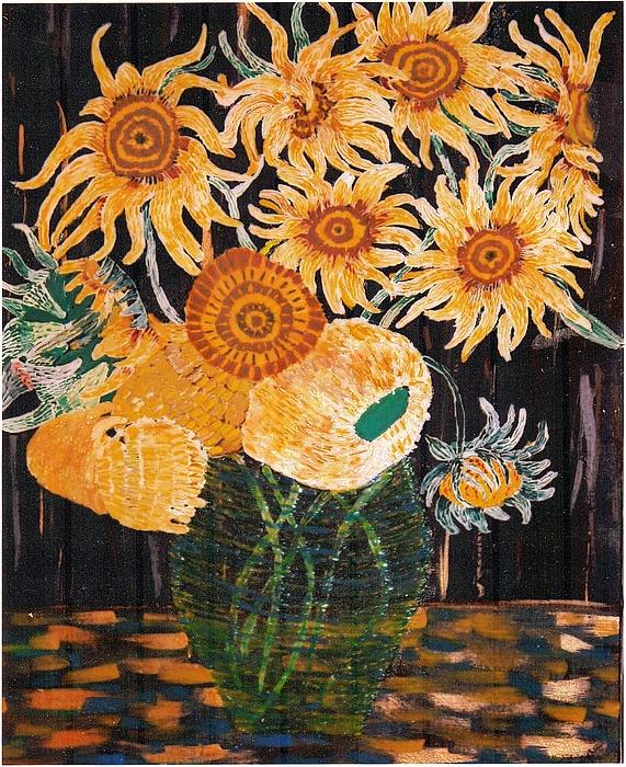 Flowers Painting - Sunflowers In Clear Vase by Brenda Adams