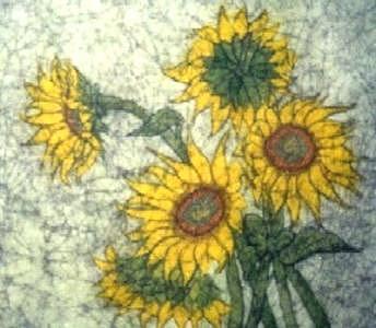 Batik Painting - Sunflowers  by Lynda Wilson