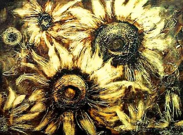 Flowers Painting - Sunflowers by Nelu Gradeanu