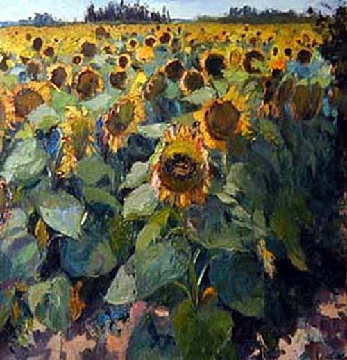 Landscape Painting - Sunflowers Of Ampurdia by Ramon Vilanova