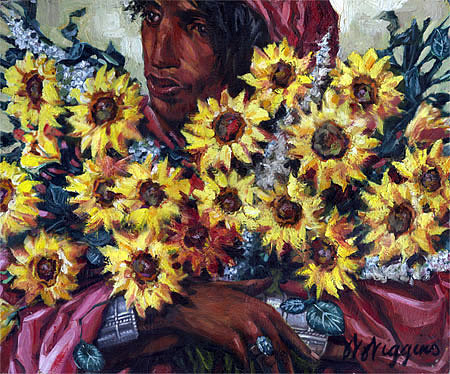 Sunflowers Painting by Wendell Wiggins